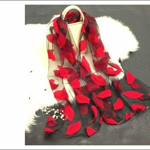 Accessories - Red Leaves Polyester Satin Silk Scarf